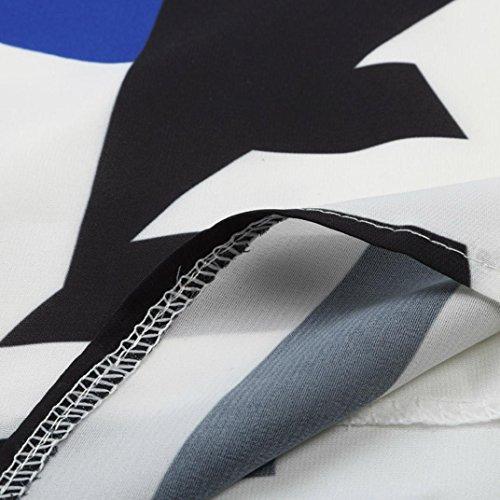 Bluestercool Femmes Gilet de Patchwork Chemise Décontractée Sans Manches Bleu