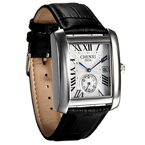 avanver Mens Causal Vintage números romanos correa de piel analógico reloj calendario cuarzo muñeca cuadrado reloj de segunda mano