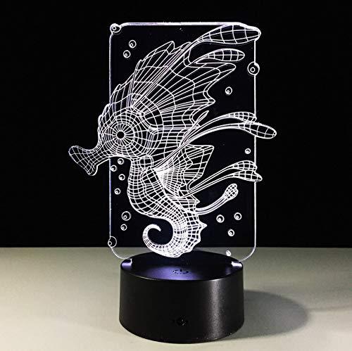 Acryl Cartoon Sea Horse Illusion Led Lampe Usb Tisch Nachtlicht Romantische Dekoration Lampe Weihnachten Licht ()