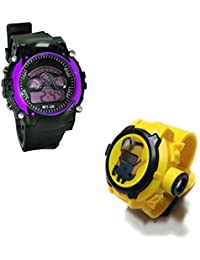Shanti Enterprises Combo Minions 24 Images Projector Watch And Sports Watch Multi Color Dial For Kids