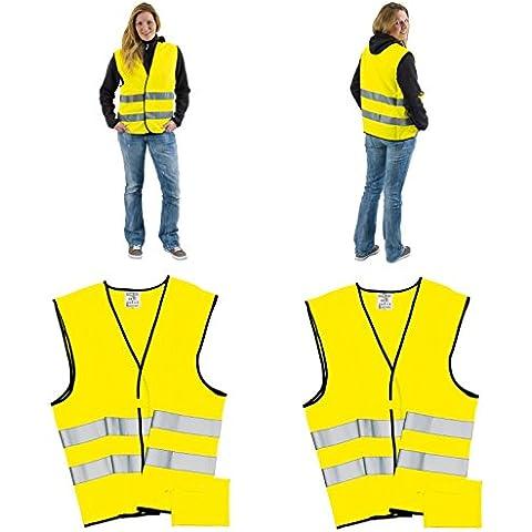 Gilet ad alta visibilità con strisce riflettenti giallo e borsa chiusura in velcro din en ISO 20471Set di 4