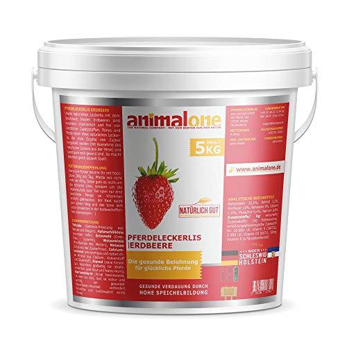 animalone PFERDELECKERLIS ERDBEERE 5 KG Eimer - das gesunde Leckerli für Ponys und Pferde