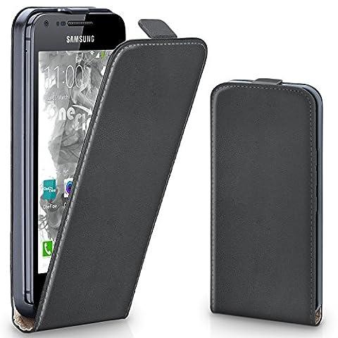 Samsung Galaxy S2 Hülle Dunkel-Grau [OneFlow 360° Klapp-Hülle] Etui thin Handytasche Dünn Handyhülle für Samsung Galaxy S2 / S2 Plus SII Case Flip Cover Schutzhülle Kunst-Leder