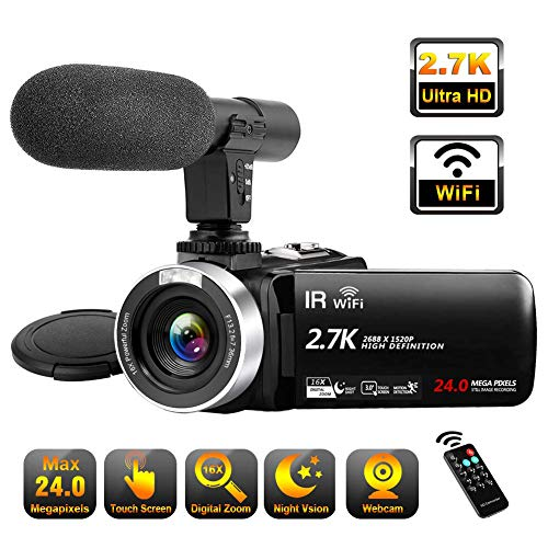 Videokamera 2.7K Video Camcorder Full HD mit Mikrofon 30FPS Camcorder WiFi IR Nachtsicht Filimkamera 24MP 16X Digital Zoom 3 Zoll LCD Touchscreen Videokamera Camcorder