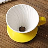 KITCHY Colorful Coffee Maker V60-01 Screw Thread Inside Ceramic Coffee Dripper Coffee Brewer Drip Cup For 1-2 People: Black