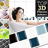 7 Stück 25,3 x 3,7 cm blau schwarz weiß Fliesenaufkleber Design 29 I 3D Mosaik Fliesenfolie Küche Bad Aufkleber Grandora W5423