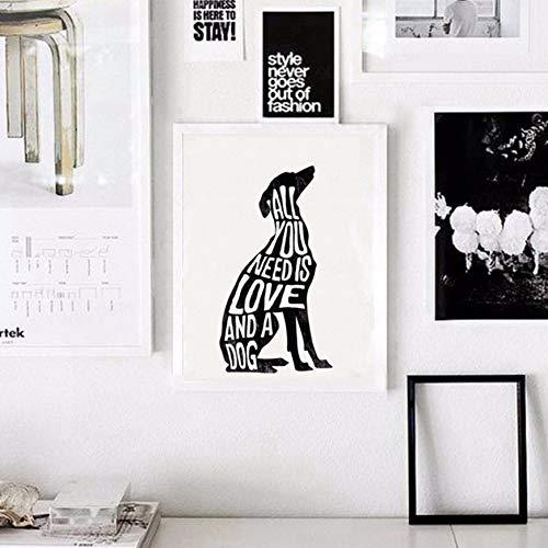 Tier Wand Aufkleber Text Zusammensetzung Poster Hund MinimalWand Kunstdruck Leinwand Minimalist Poster Home Decor NoFrame 50cmx70cm