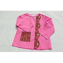 Delantal Escolar (algodón, manga larga fabricado en Francia rosa talla 10 años