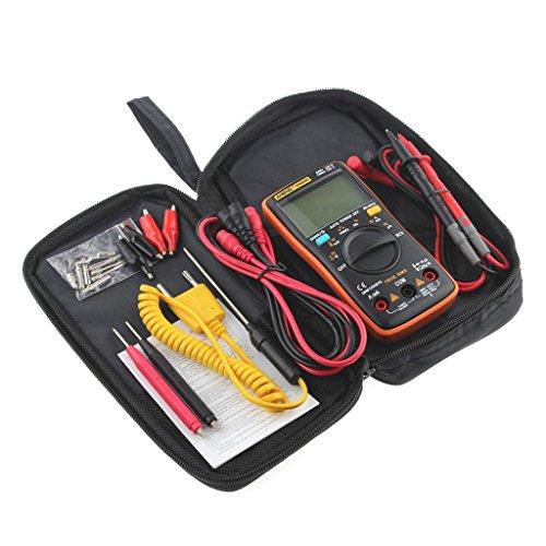 multímetro digital profesional multímetro digital LCD de bolsillo Sannysis kit de multímetro digital multi tester, multímetro autorrango Multi Medidor de Capacitancia Accesorio Incluida (Naranja)