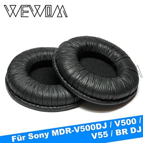 WEWOM 2 cuscinetti di ricambio di alta qualità per cuffie Sony MDR V500DJ, V500, V55 e BR DJ