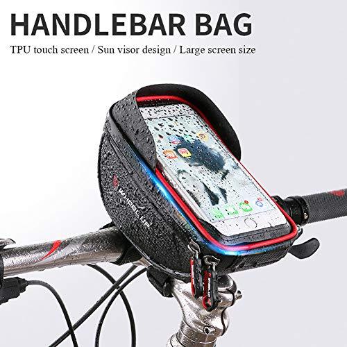 Sanqing Bike Telaio Bag, Sacchetto della Bici Impermeabile Sacchetto della Bicicletta, Bicicletta Anteriore del Tubo del Touchscreen del Sacchetto del Sacchetto con Il Foro della cuffi,Red