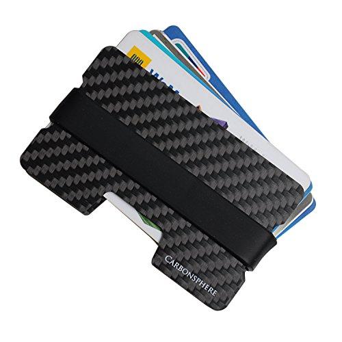 Carbonsphere | Das Carbon Kartenetuis (1-12 Karten) | Kreditkartenetuis | Slim-Wallet | Kreditkartenhalter | Geldbörse Portmonnee | Münzfach | Multitool Card | Karten Portemonnaie | 2 Silikonbänder