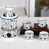 TWOBEE Ensemble à saké chaud japonais 7 pièces avec réchaud Céramique vin chaud pot à vin fondue avec bougie vin chaud jaune vin blanc vin ensemble de sept ensembles de vin chaud