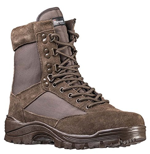 Tactical Boots m. YKK Zipper braun Gr.11/ EU44 (Lace-up Combat Boots)