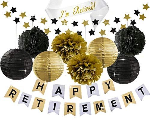 HappyField Retirement Party Decorations GLÜCKLICH Ruhestand Banner mit Retired Sash Schwarz Grau Gold Tissue Pom Pom Papier Laternen Ruhestand Party Supplies Ruhestand Dekorationen