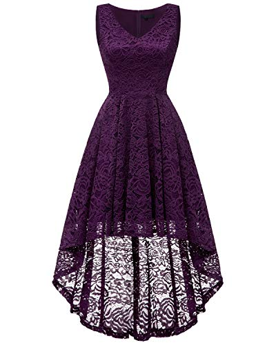 bridesmay Damen Hi-Lo Spitzenkleid Ärmellos Unregelmässig Vokuhila Kleid Cocktailkleid Brautjungfernkleider Grape S