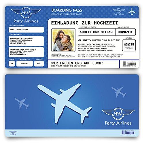 Preisvergleich Produktbild Einladungskarten zur Hochzeit (100 Stück) Flugticket mit Foto Einladung in Blau