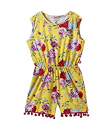 Nino Bambino 100% Pure Cotton Sleeveless Round Neck Multicolor Digital Floral Printed Jumpsuit for Baby Girls with Elastic Waist