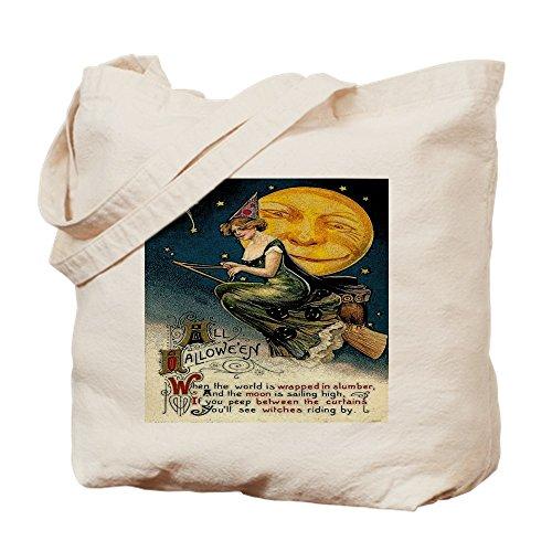 Press Duschvorhänge, Cafe (CafePress–Vintage Halloween Hexe Besen Full Moon–Leinwand Natur Tasche, Reinigungstuch Einkaufstasche Tote S khaki)