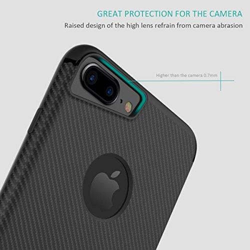 Cover iPhone 7 Plus Silicone Nero , Minana Custodia iPhone 8 Plus TPU Strato Sottile Stand Funzione Protettivo Custodia Shock-Absorption e la progettazione di fibre di carbonio Cover per