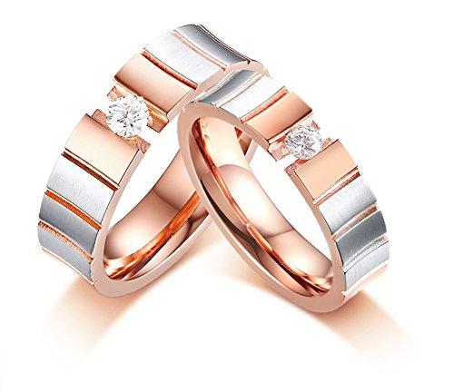 Vnox 5mm Zwei Ton Rose Gold und Silber Überzogener Edelstahl Einzel Zirkonia Hochzeit Paar Ring Bands Für Frauen, größe 57 (18.1)