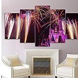 xzfddn Quadro su Tela Tutta Art Home Decor HD Stampe 5 Pezzi Paesaggio Poster Fuochi D'ArtificioCastello Picture for Living Room