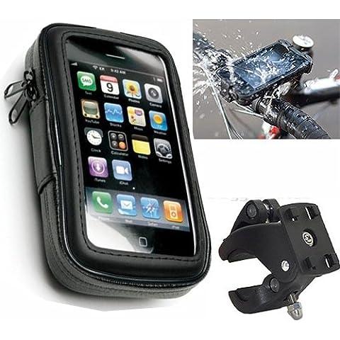 Ibroz Imoove - Soporte para manillar de moto o bicicleta para iPhone 4, 4S, 5, HTC y Nokia (con funda impermeable, longitud máxima: 6