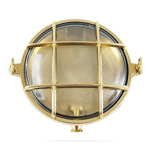 Lampada rotonda in stile marinaro da imbarcazione in ottone lucido, ø 155 mm, ip 54, per attacco e14 (vetro trasparente)
