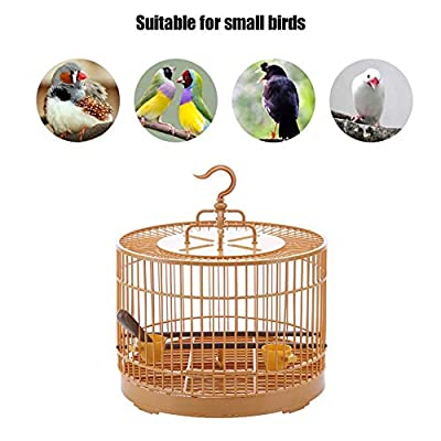 evergremmi Portable Lightweight Bird Carrier, Bird Travel Cage Bird Feeding Cage Breathable Parrot Retro Round Travel Cage for Small Birds from evergremmi