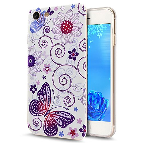 iPhone 7 Plus Hard Case Hülle,iPhone 7 Plus Glitzer Hülle,iPhone 7 Plus Transparent Hülle,iPhone 7 Plus Crystal Clear Case Hülle Klare Cristall Liquid Bling Schutzhülle Etui für iPhone 7 Plus 5.5 Zoll Dandelion Lover 7