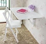 SoBuy® Mesa de cocina, mesa de madera, mesa plegable de pared, mesa de comedor, escritorio, mesa, plegable 2x, 80x60cm, color: blanco, FWT02-W