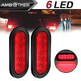 Ambother 2x 15,2cm LED rimorchio luci luci ovale, di traino posteriore freno stop girare coda segnale e luce per parcheggio, luci di posizione laterali per auto camion 12V impermeabile ambra (confezione da 2)