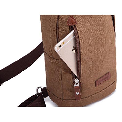 MeCool Vintage Canvas Herren Umhängetasche Messenger Freitag Männer Schultertasche Tasche für Reisetasche Sport Reisetaschen Schule Retro Schultaschen Militär Reisetasche Strandtasche Braun