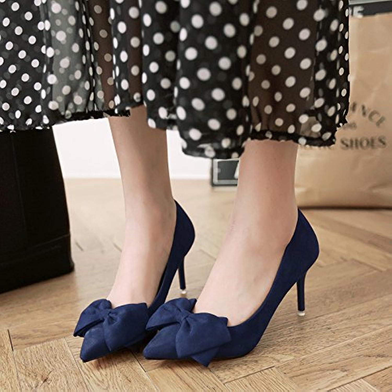 Pajarita high-Heel Shoes y versátil bajo las zapatas bien con 5cm de satén, con zapatos de mujer ,38, Royal azul...