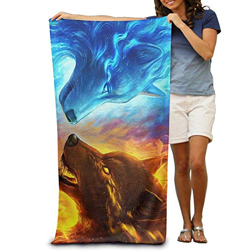 "Gebrb Duschtücher/Badetücher,Strandtücher, Space Ice Fire Wolf Premium 100% Polyester Pool Bath Sheets Large Towel for Beach Blanket Cover Tent Floor Yoga Mat 31.5"" X 51.2"",Natural Soft Quick Dry"