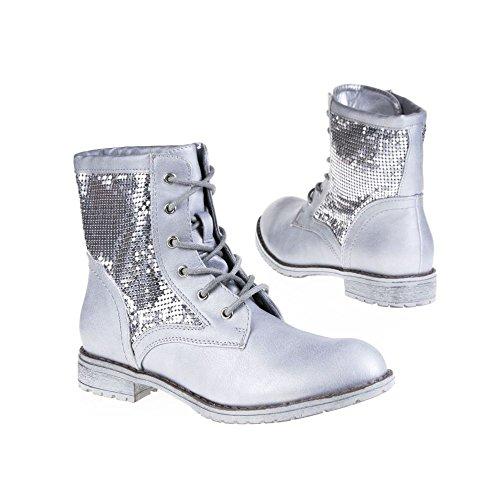 SDS, Damen Stiefel & Stiefeletten Silberfarben