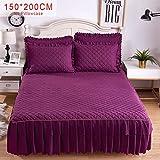 myonly Bettbezug, Einfarbiger Rock, Einzelbett, Prinzessin, Doppelbett, mit geteilten Ecken, Bettlaken mit Rock, großes Bettlaken Dicker Anti-Rutsch-Bettwäsche, violett, N180*200CM