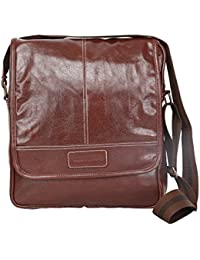 Willow & Smith Faux Leather 11 Inch Laptop, Messenger, Tablet And Office Brown Bag With Belt For Men And Women