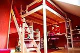 ABC MEUBLES - Letto a soppalco Sylvia con scala di mugnaio - 1130 - Bianco/Rosso, 120x200