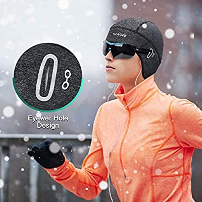SGODDE Cycle Skull Cap Helmet Liner Fits Glasses, Cycling Thermal Stretchable Hat for Men Women, Winter Sports Beanie for Outdoor Sports Cycling, Running, Skiing by SGODDE