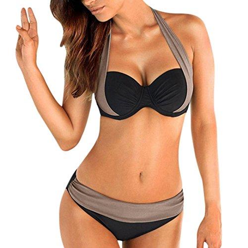 Bikini Set,Hevoiok große größen Damen Bademode Zweiteilig Sexy Badeanzug Neckholder Push-up Gepolstert BH Elegant Bikinis For Mädchen Frauen Bandeau S-2XL (Grau, M) (Hot Bikini Neckholder)