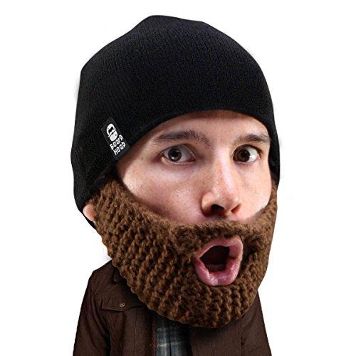 Beard Head Bartmütze – Stoppelbart Populous – Lustige Strickmütze und falscher Bart Gesichtsmaske