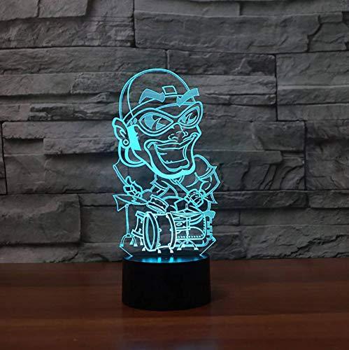 Schlafzimmer Nacht Schlaf Beleuchtung Dekor 7 Farben Ändern 3D Hip Hop Form Schreibtischlampe Visual Playing Drums Led Nachtlicht (Hip Halloween-nacht Hop)