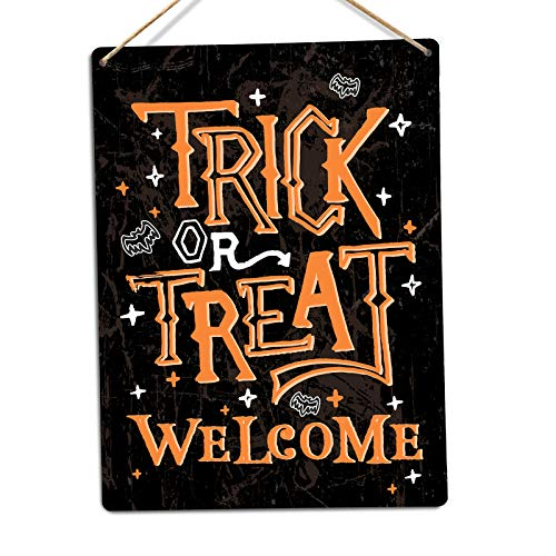 | WTF | Trick or Treat Welcome Schild | Metall Wandschild Aufschrift, Twine
