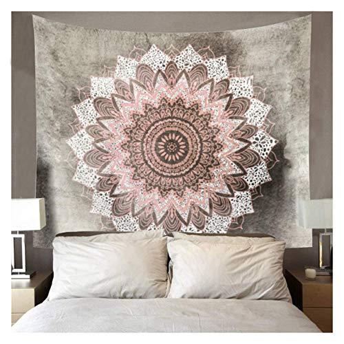 Dremisland India Decoración de la pared tapices Hippie bohemio Mandala Lotus tapiz colgar en la pared manta gris y rosa, M/153x130cm(60x52inch)