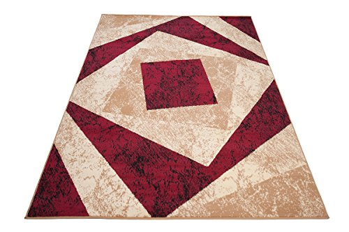 Designer Teppich mit Karo Kariert Meliert in Beige Rot - ÖKO Tex (160 x 220 cm)