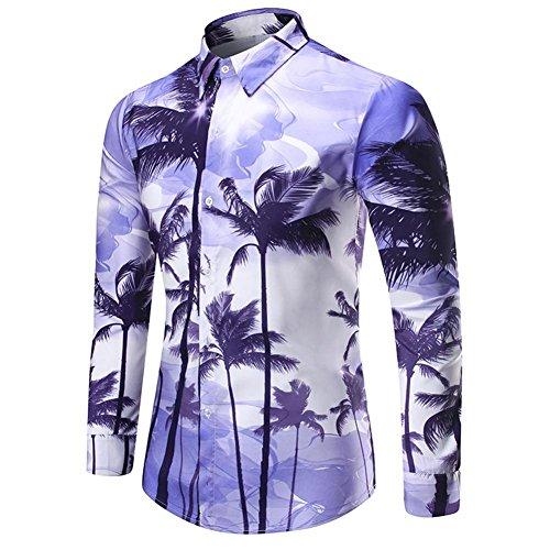 Witsaye uomo stampa maglietta, stile hawaiano camicie gli sport manica lunga top a camicia, viola (m)