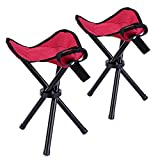 Zanasta Dreibein-Hocker [2 Stück] Camping Stuhl 28cm Sitzhöhe, Sitzhocker faltbar für Freizeit, Garten, beim Camping, Angeln und mehr, handliche 280g leicht, Rot