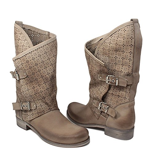 Stivali Biker Boots Estivi Traforati Morbidi Leggeri Donna In Time 0246 Elefant MantraA in Vera Pelle Made in Italy Elefant