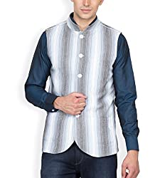 Hypernation White and Blue Stripped Waist Coat For Men